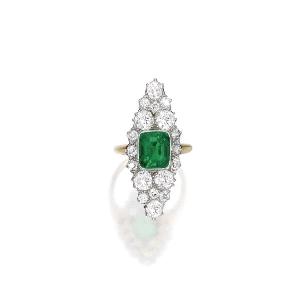 Gold, platinum, emerald and diamond navette-shaped ring. Photo by Sotheby's Auction House.