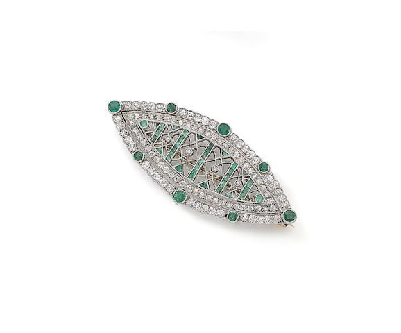 Navette-shaped emerald and diamond brooch, circa 1910. Photo by Bonhams Auction House.