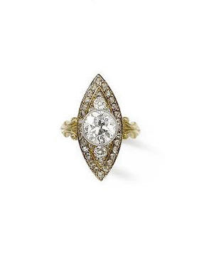 A collet-set diamond, within a navette-shaped surround. Photo by Bonhams Auction House.