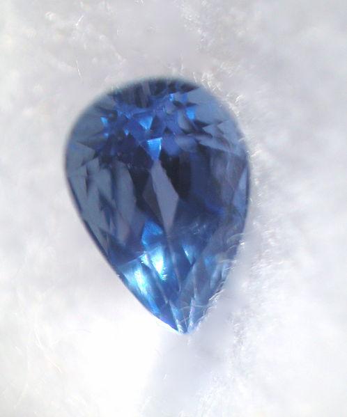 0.43 carat, cornflower blue Yogo sapphire from Yogo Gulch, Montana. Photo by Pumpkinsky