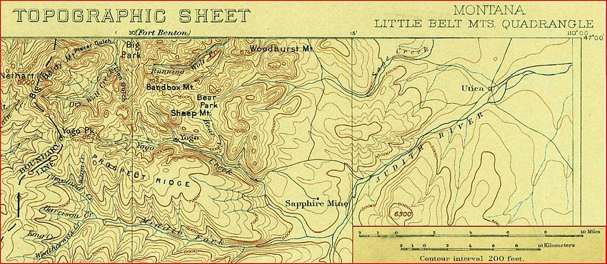 Location of the Yogo mine area from a 1902 USGS topographic map