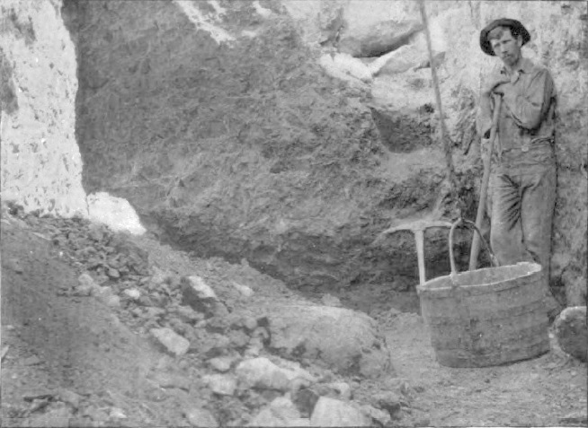 Sapphire mine of Yogo District, Montana. Face of dike in open cuttings 1897. Photo from Geography of the Little Belt Mountains, Montana, by Walter Harvey Weed and Louise Valentine Pirsson, 1900, United States Geological Survey, Washington DC.
