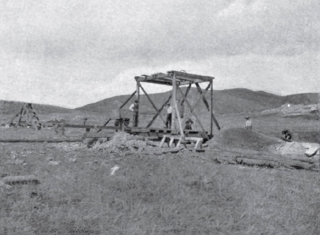 Sapphire mine of Yogo District, Montana. Mine shaft 1897. Photo from Geography of the Little Belt Mountains, Montana, by Walter Harvey Weed and Louise Valentine Pirsson, 1900, United States Geological Survey, Washington DC.