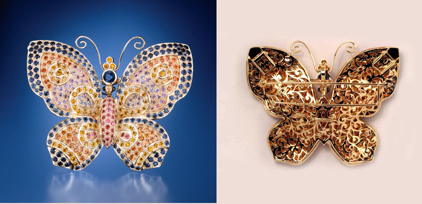 The Conchita Montana Sapphire Brooch. The Butterfly can be worn as a brooch or as a pendant.  It has boxes attached so that it can be incorporated into an elaborate neckpiece or strung with beads as well.