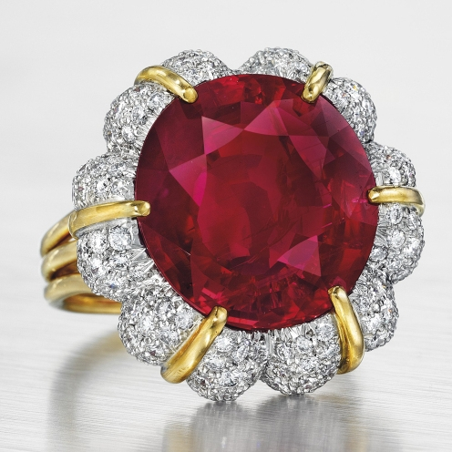 The Jubilee Ruby: a 15.99-karat Burmese ruby and diamond ring by Verdura. Courtesy of Christie's