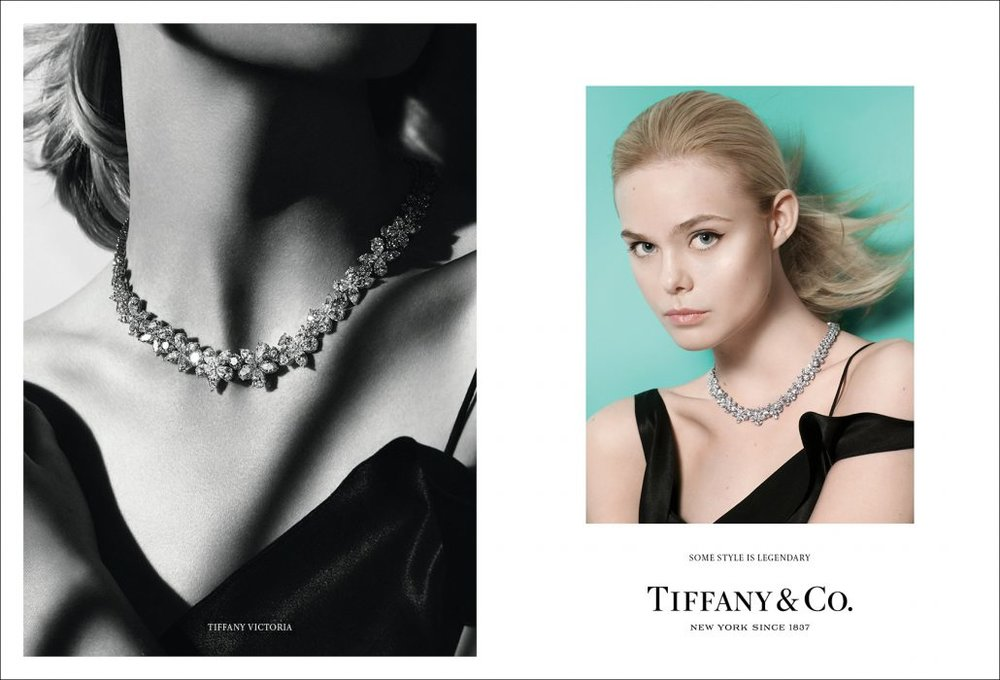 ELLE FANNING WEARS A TIFFANY VICTORIA® DIAMOND CLUSTER NECKLACE