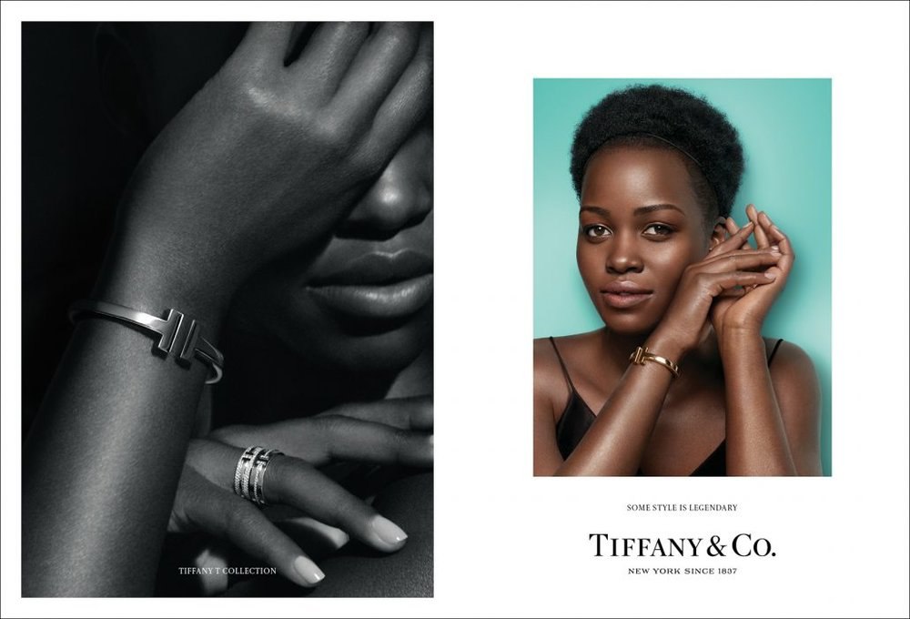 Actress Lupita Nyong'o wears a Tiffany T square bracelet and Tiffany T Ring