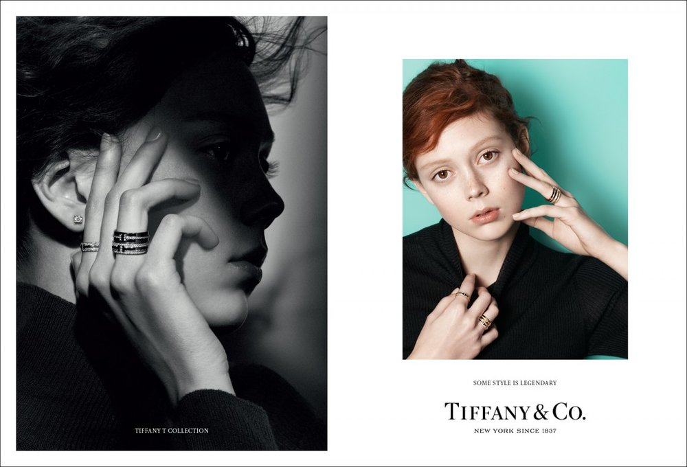 Natalie Westling wears Tiffany solitaire diamond earrings and Tiffany T Rings