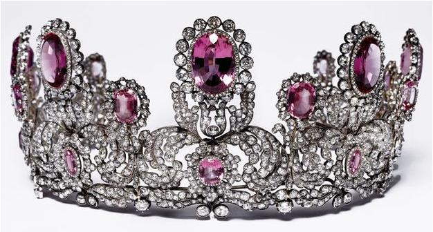 The Württemberg Pink Topaz Tiara features pink topaz stones