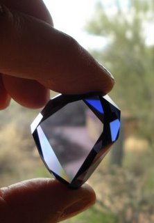 The cubic zirconia replica of the Tavernier Blue diamond created by Scott Sucher