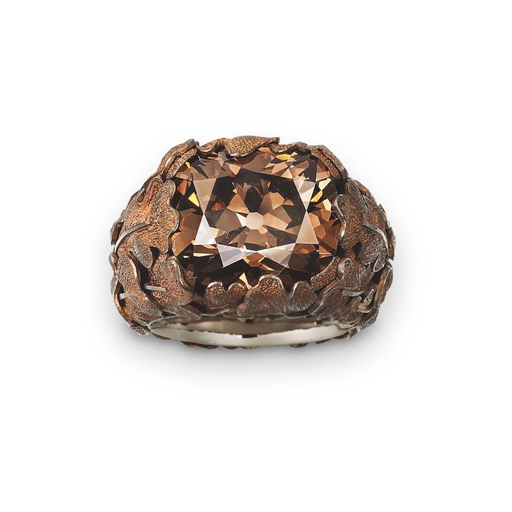 Brown Diamond, Copper, and White Gold Ring by Jewelry designer Hemmerle.