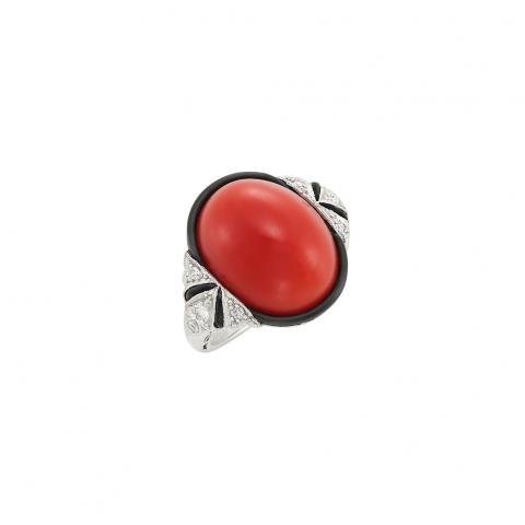 Art Deco Platinum, Coral, Black Onyx, Diamond and Enamel Ring One oval cabochon coral, 8 old European & single-cut diamonds, c.1925