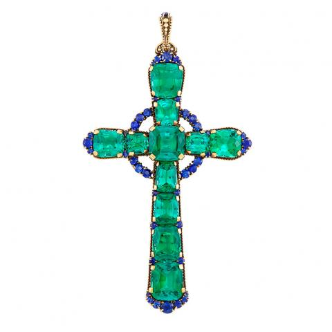 Antique Gold, Tourmaline and Sapphire Cross Pendant, Tiffany & Co.