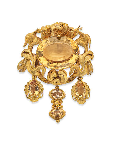 A Victorian topaz and gold brooch