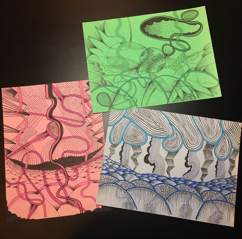 Trio - Green, Blue, Pink