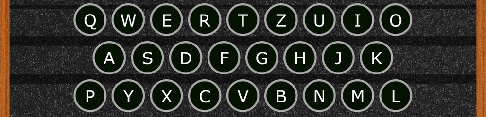 The keyboard is mechanical and has a somewhat strange layout, based on the German QWERTZ design. some keys are moved so as to make the number of keys in each row more alike, since only uppercase letters are used.
