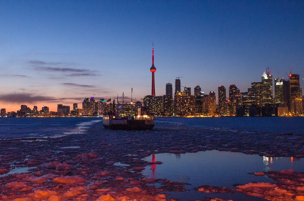 W ard's Island February 2014 Toronto, The blue hour