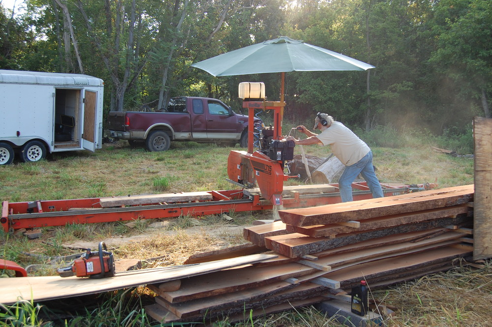 Al uses his Woodmizer to prep some brace pieces