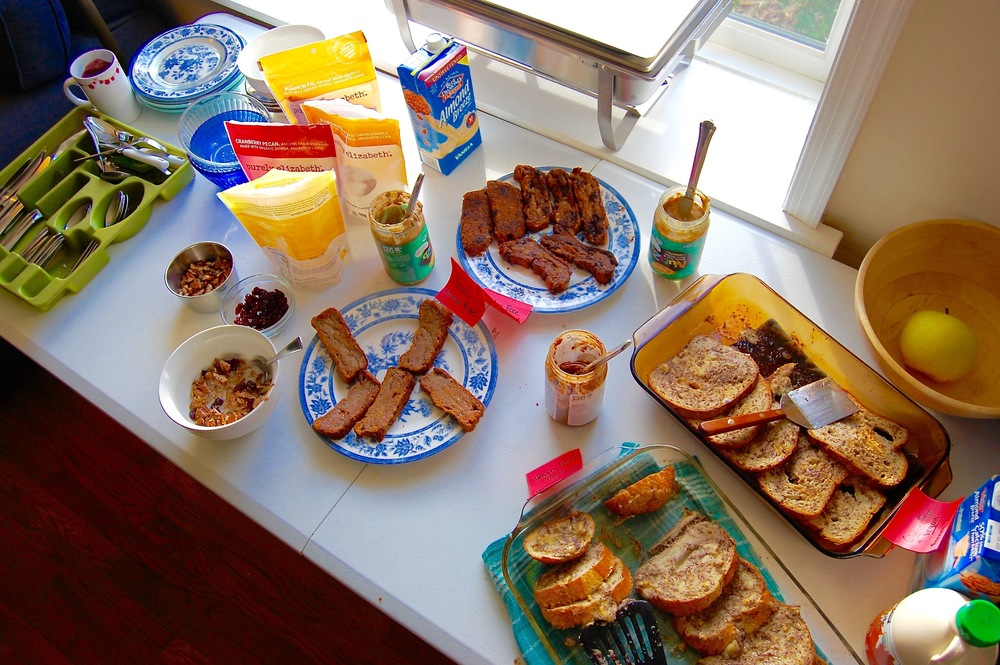 Our final breakfast spread with vegan and gluten-free banana bread, french toast,  Purely Elizabeth  granola, and  NuttZo .