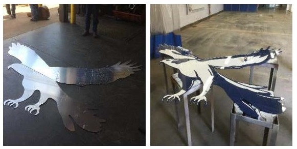 The look of the Fairless Local Schools mascot, the falcon, was updated  by the Metal Fabrication class, who created the image; and the Auto Collision class who gave it a shiny new look!