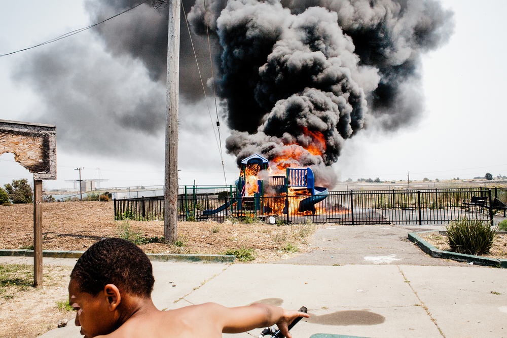 Bayview-Hunters Point is the last predominantly African-American neighborhood in San Francisco.  A playground burns in Alice Griffith, 2008.