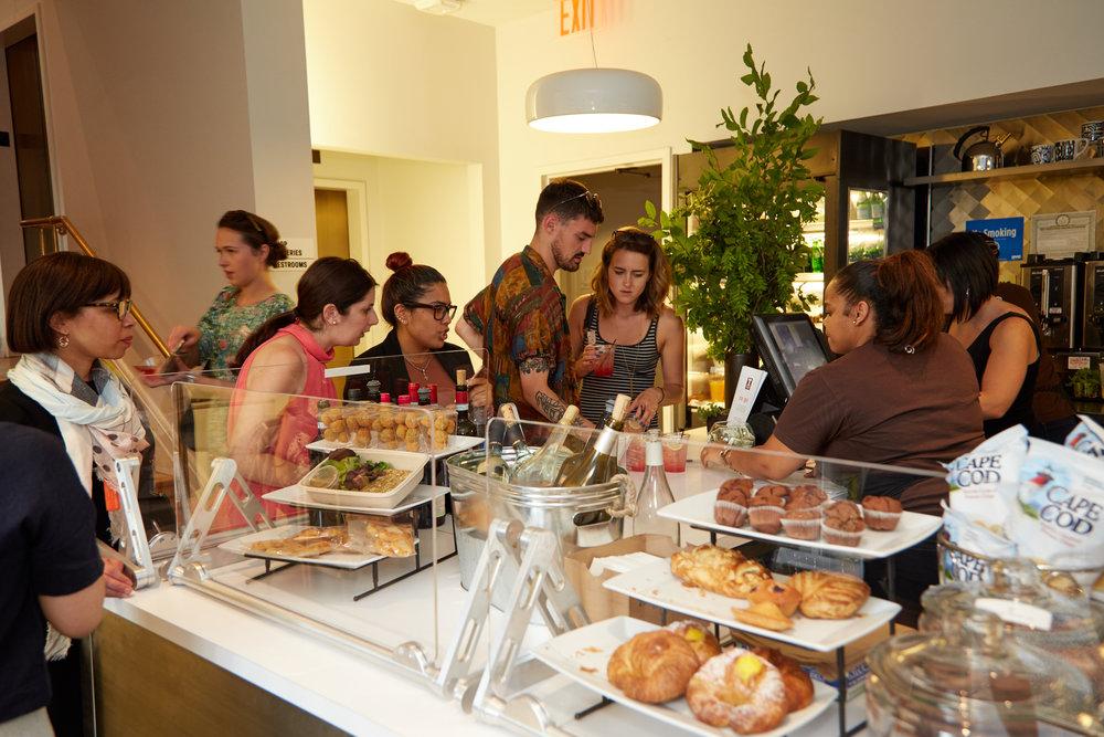 Café area and guests. Tarallucci e Vino Cooper Hewitt.