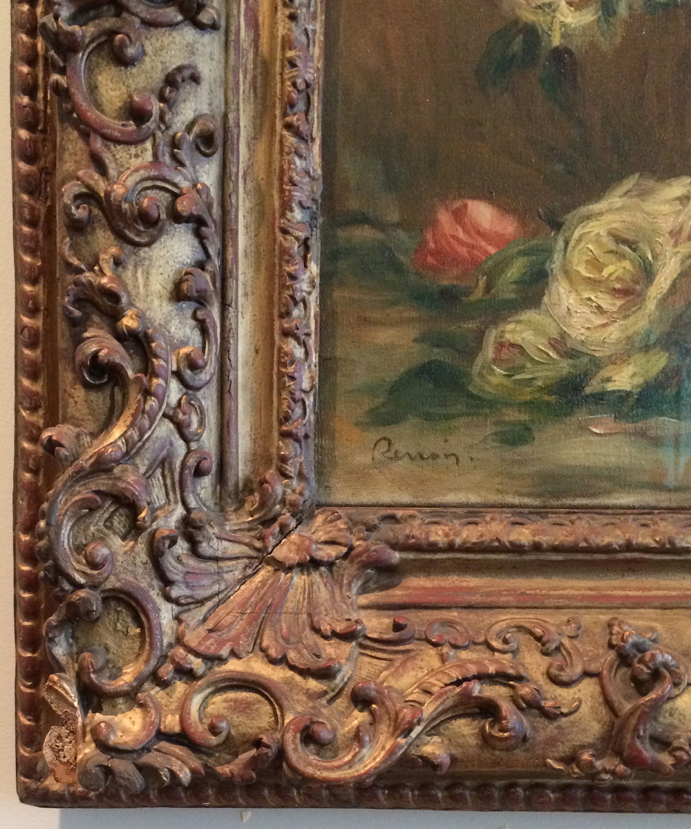 фрагмент рамы - Ренуар - розы в вазе