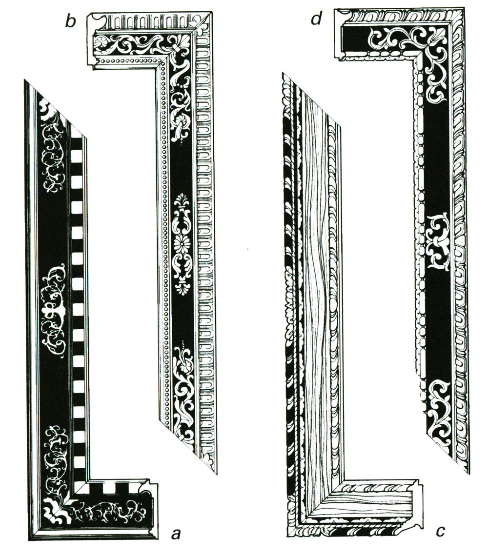 Рис.14 Итальянская рама cassetta с резным орнаментом и узорами по центру и углам рамы