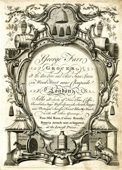 Рис.7 Реклама Джорджа Фар, бакалейщика, 1750-е годы.
