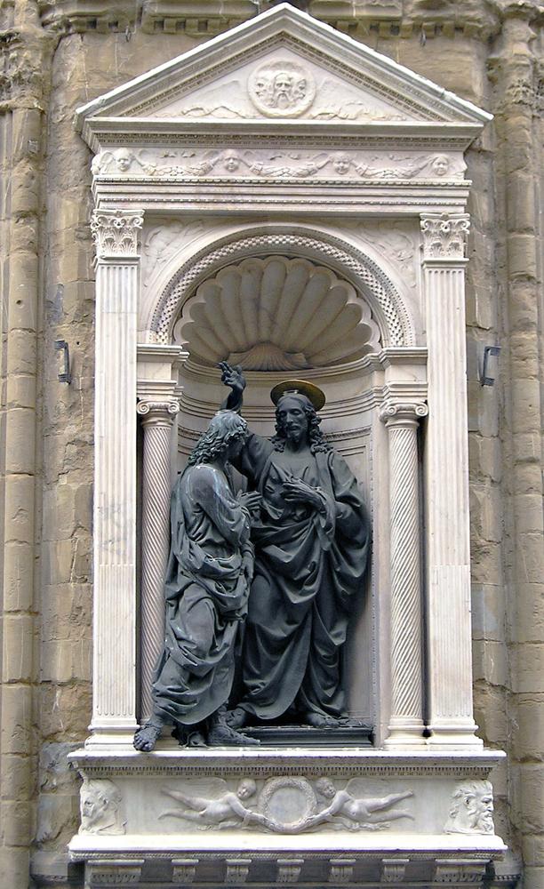 Рис.14 Ниша с Христом и святым Томасом, реплика бронзовой статуи, 1467-83, Андреа дель Верроккьо, церковь Орсанмикеле, Флоренция