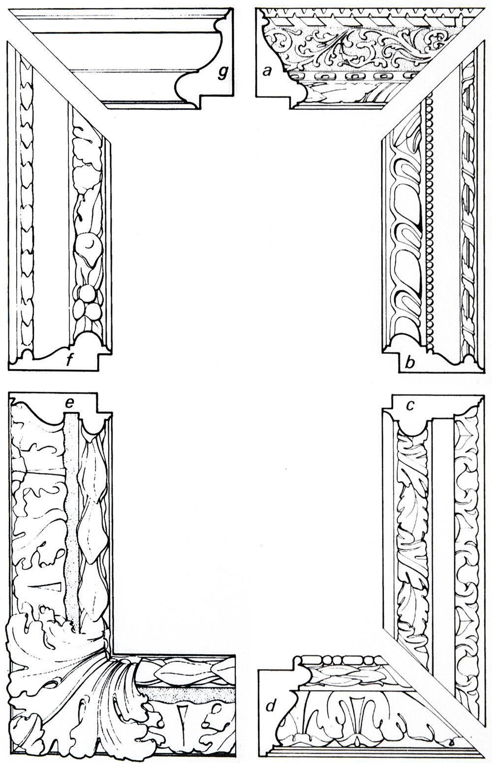 Рис. 23 Итальянские барочные рамы с выпуклым профилем, 17 век.