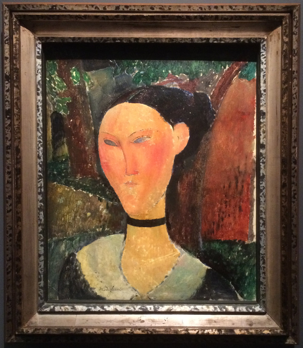 """Рис.5 Амедео Модильяни """"Девушка с бархатной лентой"""" (1915, Musée de l'Orangerie)"""