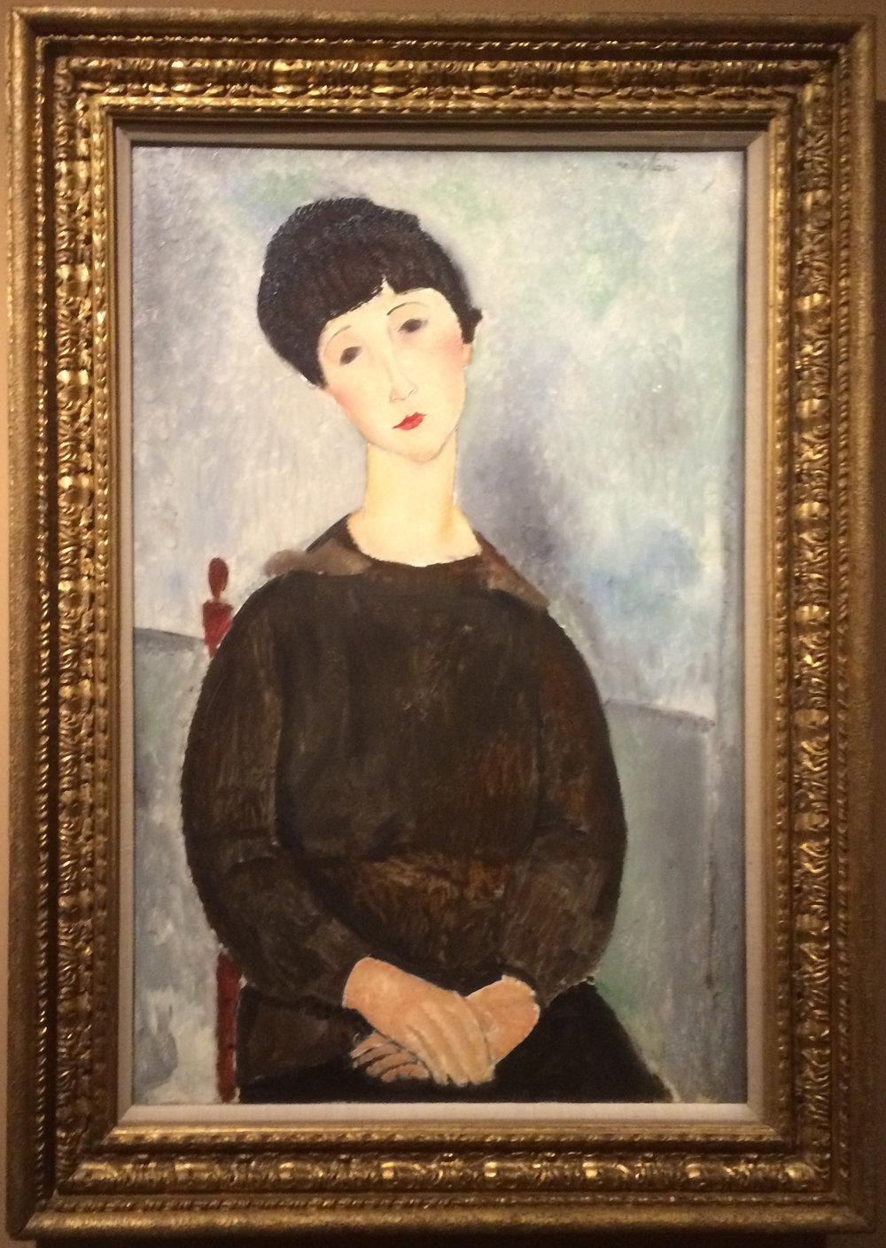 """Рис.13 Амедео Модильяни""""Сидящая молодая женщина""""(1918, Musée national Picasso-Paris)"""