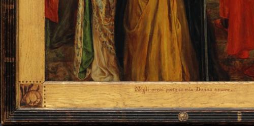 """Рис.13 Д. Г. Россетти(1828-82) """"Приветствие Беатриче"""",1859, фрагмент"""