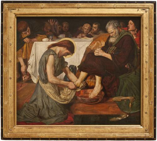 """Рис.15 Форд Мэдокс Браун (1821-93)""""Иисус, омывающий ноги Петру""""1852"""