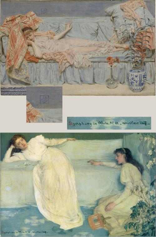 """Рис.24 Альберт Мур""""Лилии"""", 1866; Уистлер Симфония в белом №3"""",1867"""
