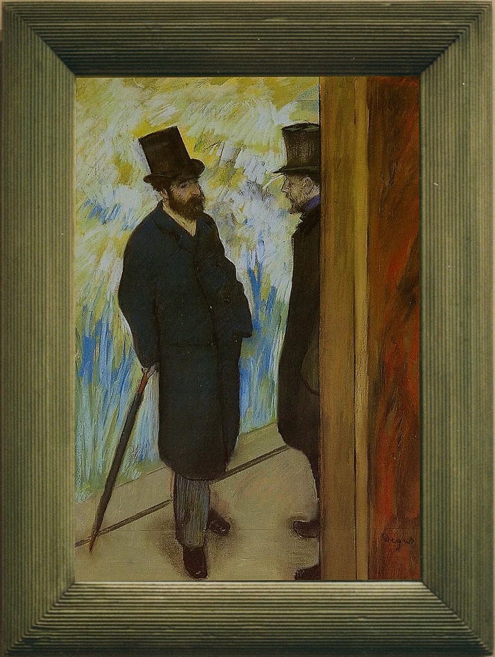 Рис.34 Эдгар Дега (1834-1917), Ludovic Halevy et Albert Boulanger-Cavé dans les coulisses de l'Opéra (Portrait d'amis sur scène), 1879