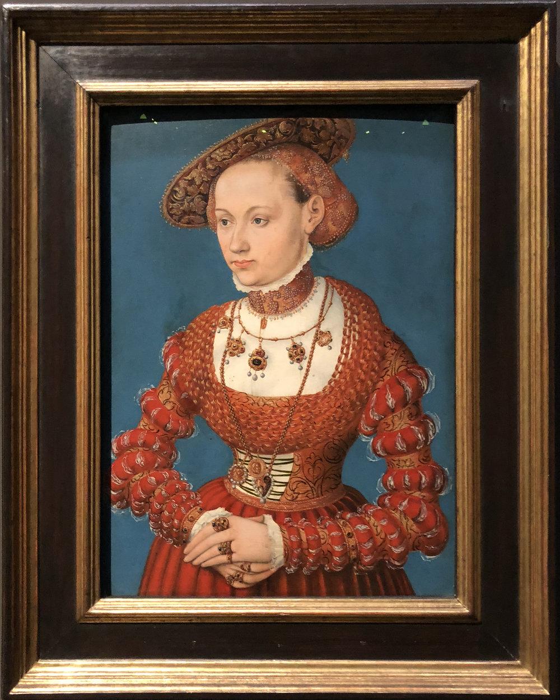 """Рис.16 Лукас Кранах Старший """"Агнессаван Хайн, урожденная Рабенштейн"""", 1543"""