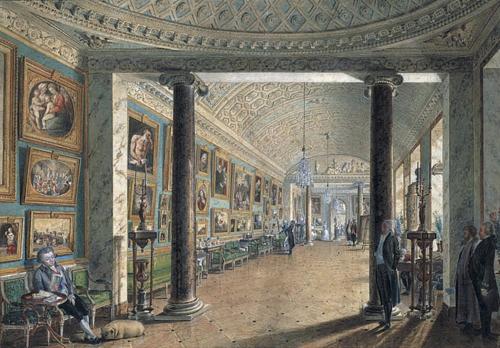 """Рис. 8 Андрей Никифорович Воронихин (1759-1814), """"Вид картинной галереи графа Строганова"""", 1793,"""