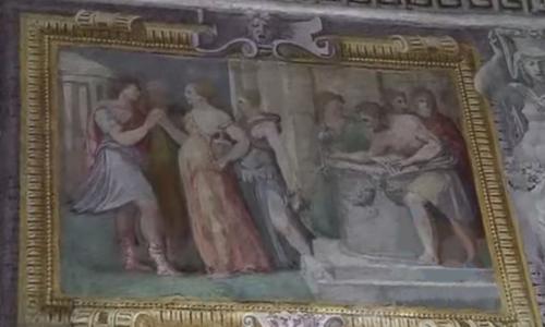 Рис.16 Фриз декорированый картинами в фиктивных рамах, 1550-е, Palazzo Thiene, Виченца