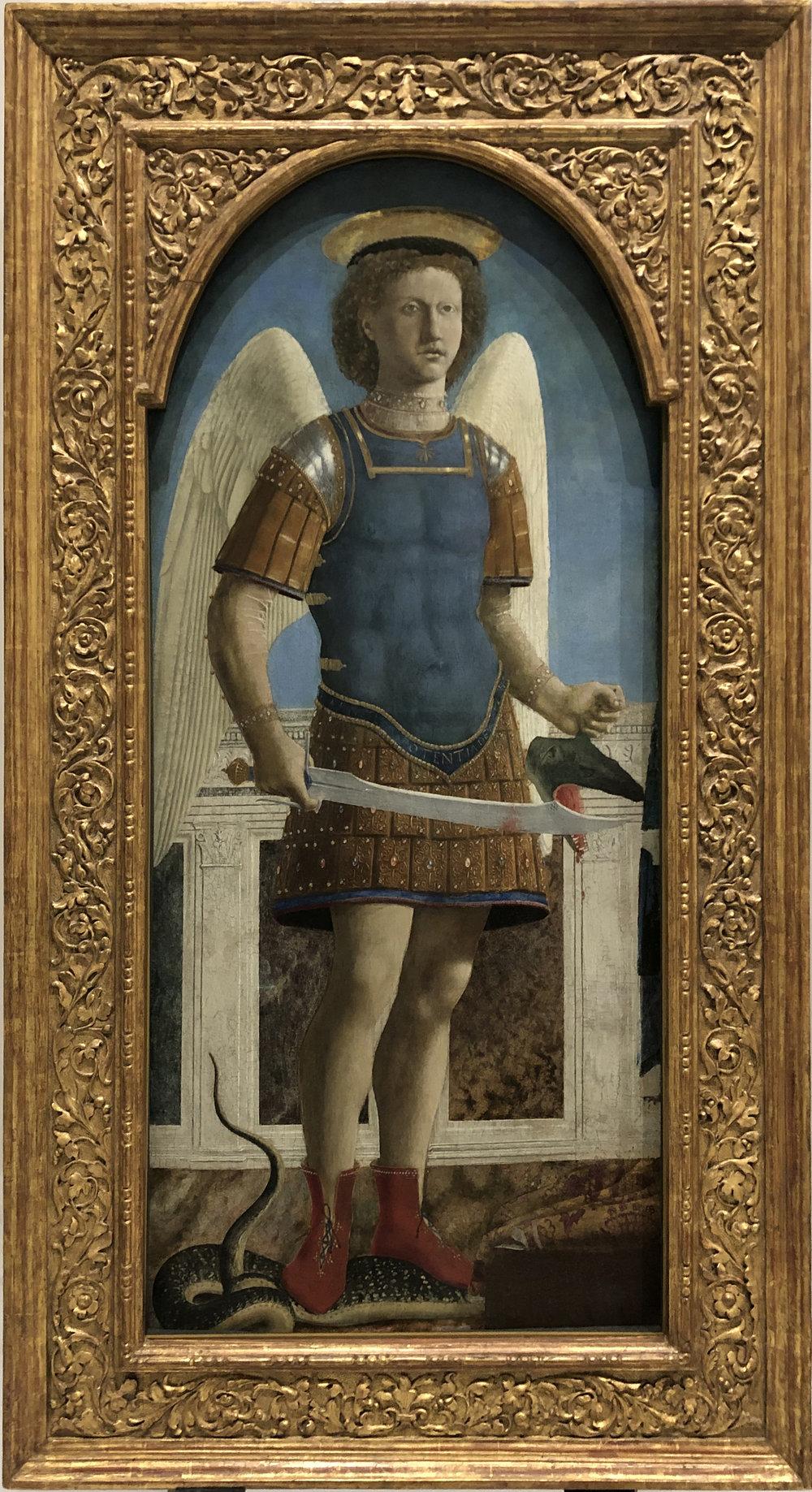"""Рис.1 Пьеро делла Франческа """"Святой Михаил"""" (створка полиптиха), 1470 г.; дерево, темпера, масло; Национальная галерея, Лондон."""