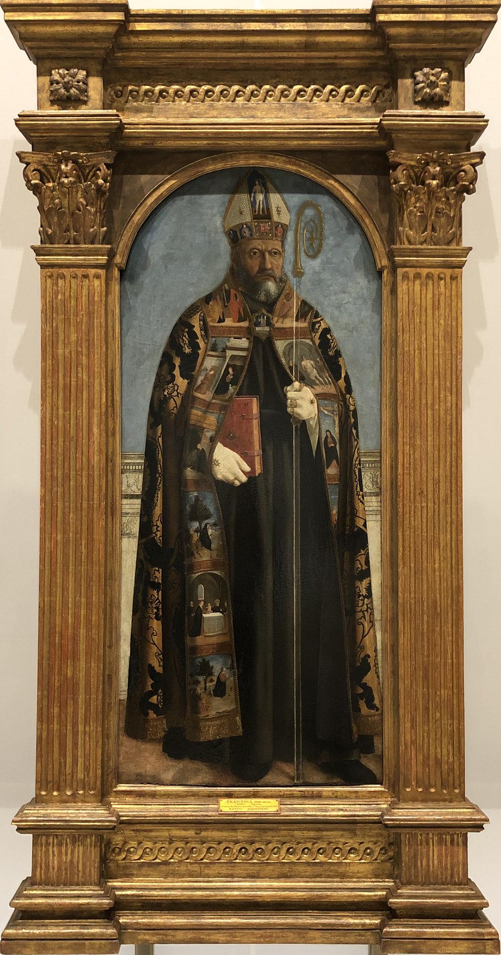 """Рис.2 Пьеро делла Франческа """"Святой Августин"""" (створка полиптиха), 1470 г.; дерево, темпера, масло; Национальный музей старинного искусства, Лиссабон."""