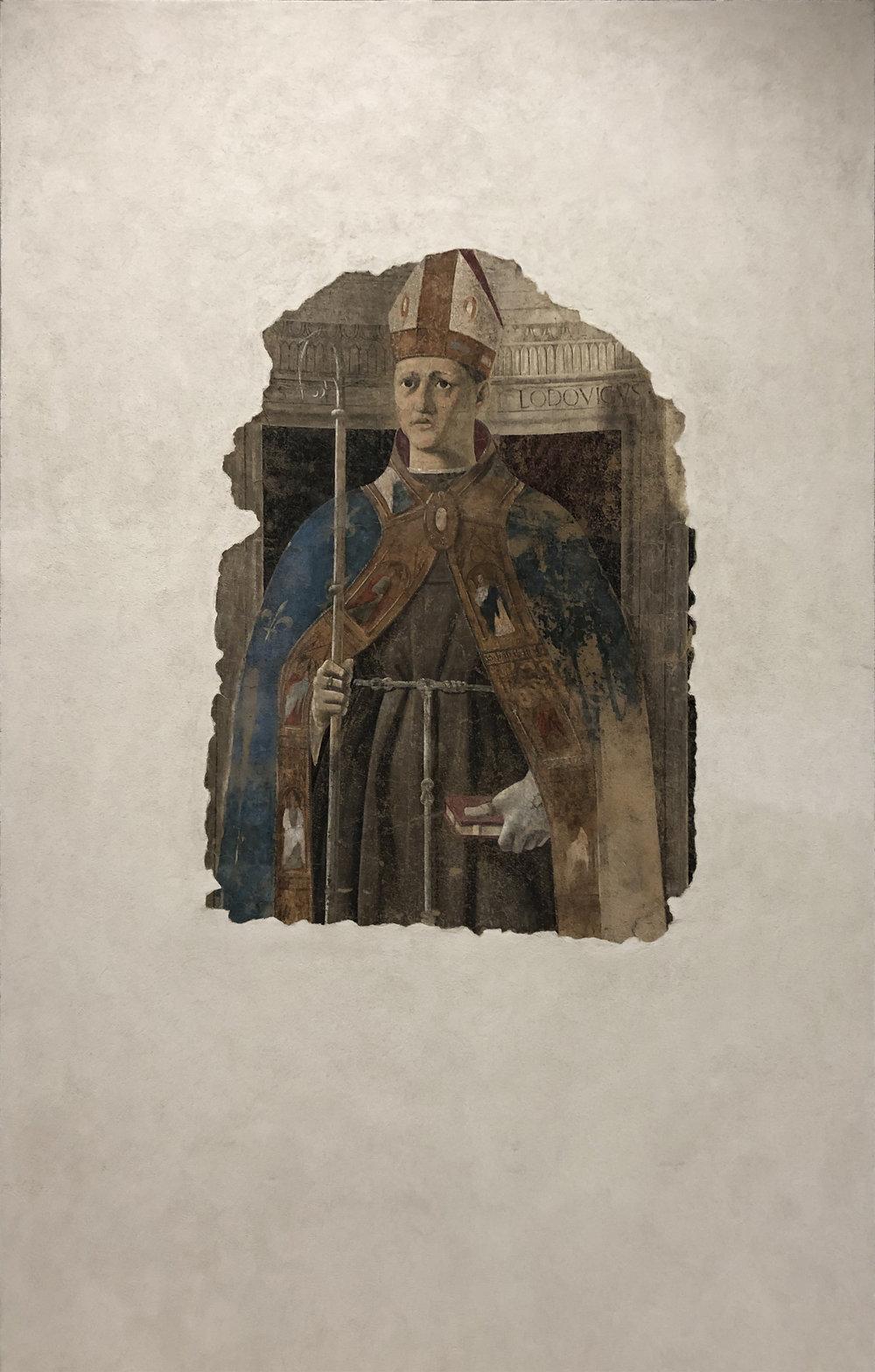 """Рис.4 Пьеро делла Франческа """"Святой Людовик Тулузский"""", 1460 г.; фреска, переведенная на дерево; Городской музей Сан Сеполькро."""