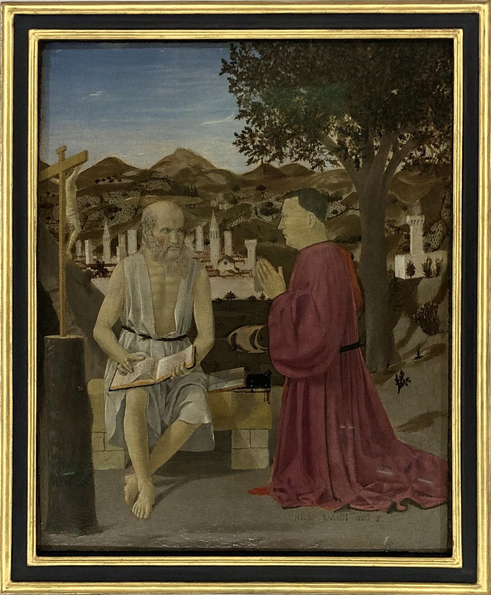 """Рис.10 Пьеро делла Франческа """"Святой Иероним с донатором"""", 1450-е гг.; дерево, темпера, масло; Галереи Академии, Венеция."""