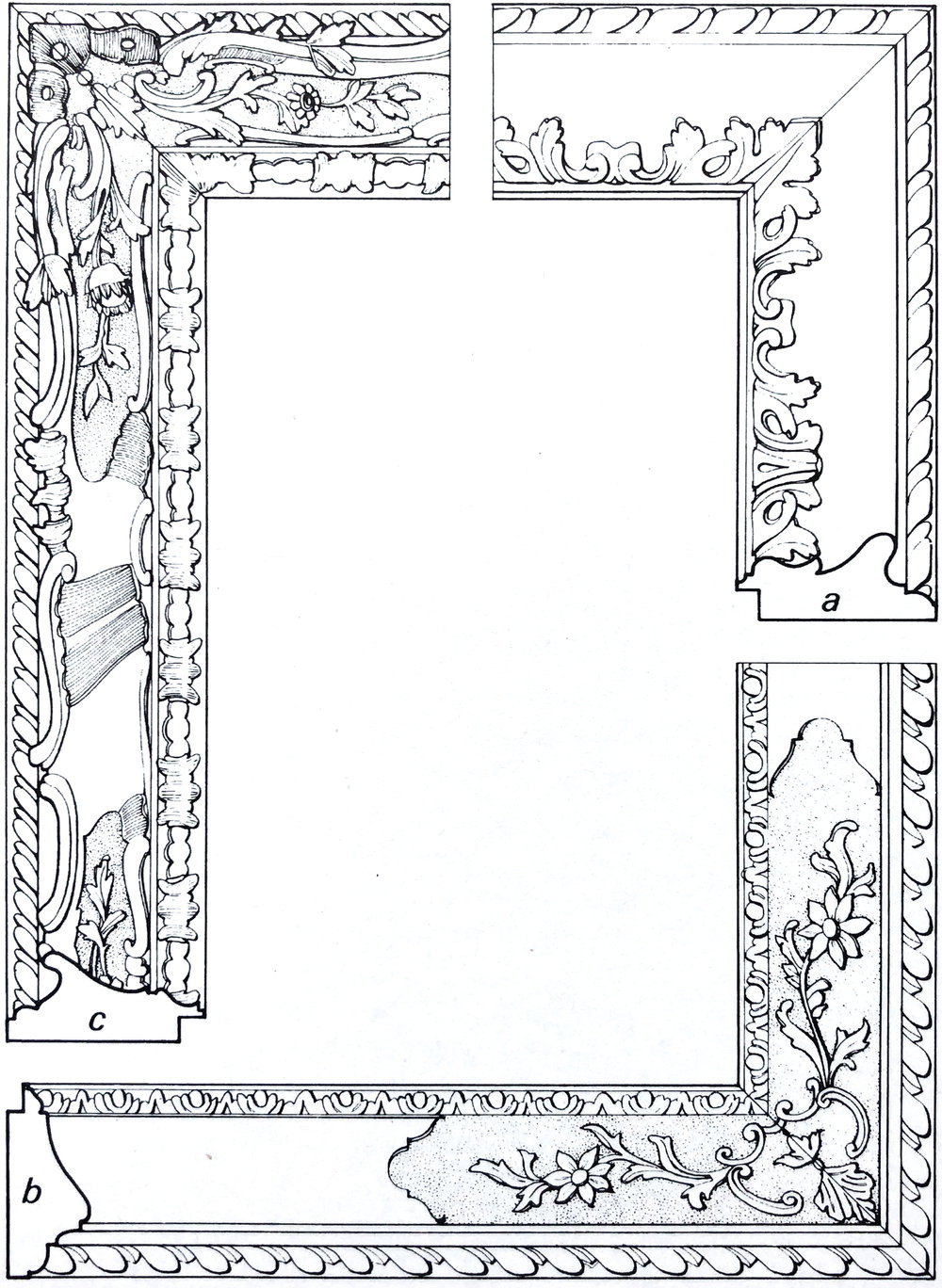 "Рис. 25 Венецианские рамы рококо (1715-65 гг). а) рама ""Лонги"", 1740 г., оригинальная рама для картины Пьетро Логи ""Веселая пара"" b) рама ""Каналетто"", 1718 г., рама для картины жованни Баттиста Пьяццетта ""Ангел-хранитель"" c) рама рококо с асимметричными профилями, середина 18-го века, адаптирована для картины Микеле Джованни Мариески ""Вид на Гранд-канал с Санта - Мария - Делла - Салюте"""