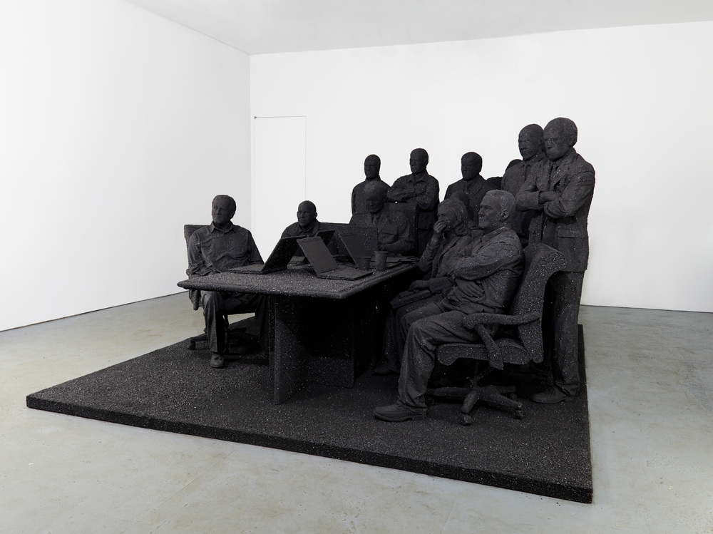 Will Ryman,  The Situation Room , (2012–2014). Coal, fiberglass, wood, fabric, epoxy; 132 x 163 x 78 inches; 335.3 x 414 x 198.1 cm. Courtesy of the artist and Paul Kasmin Gallery.