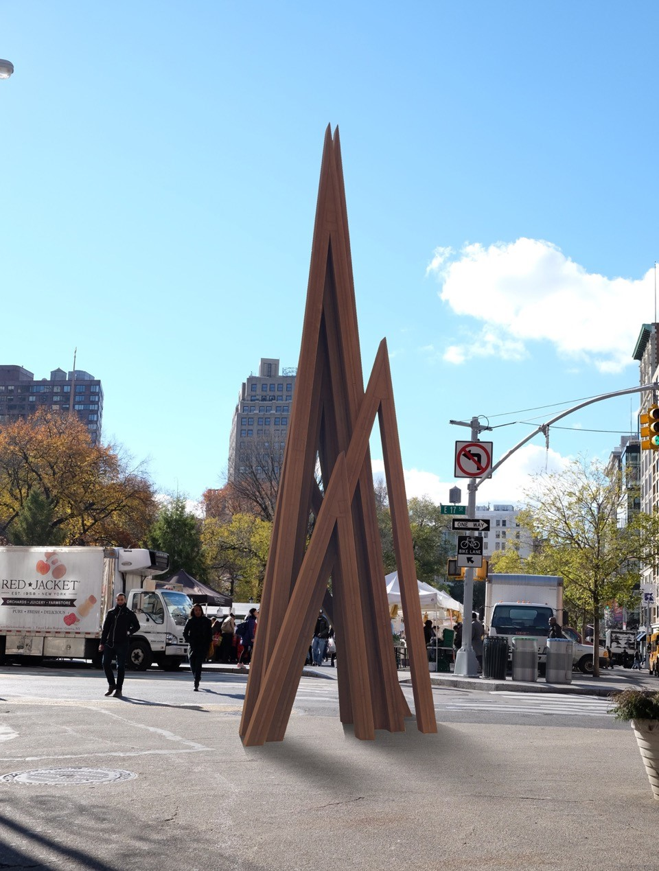 Bernar Venet,  Disorder: 9 Uneven Angles , 2015. Steel. 25'
