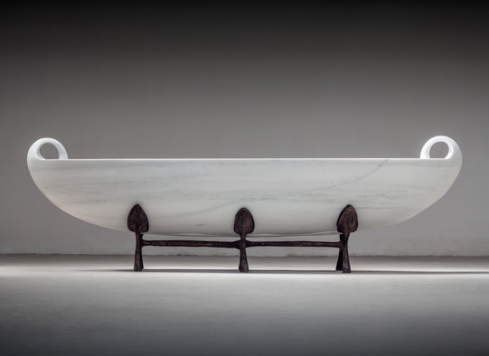 Psyche  , 2015. Marble and bronze. Marble: 39 3/8 x 196 7/8 x 39 3/8 inches,                                            bronze base: 27 1/2 x 102 3/4 x 27 ½ inches  .