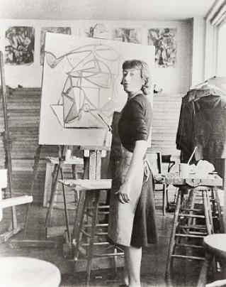 Lee Krasner in Hans Hoffman's studio, early 1940s. Photo: Robert E. Mates and Paul Katz. Lee Krasner artwork © Pollock-Krasner Foundation / Artists Rights Society (ARS), New York.