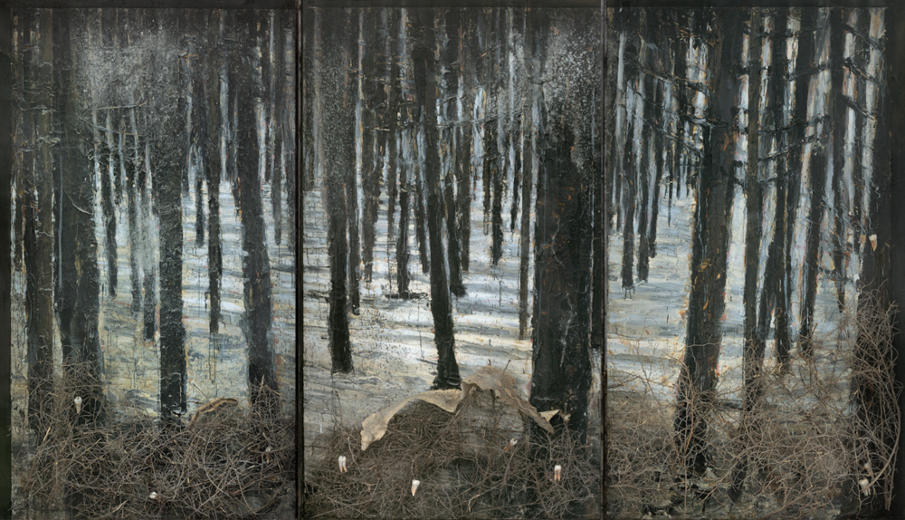 Anselm Kiefer,  Winterwald , 2010, oil, emulsion, acrylic, shellac, ash, thorn bushes, synthetic teeth, and snakeskin on canvas in glass and steel frames, 130.5 x 227 x 14 inches, Hall Collection, Courtesy Hall Art Foundation. Photography: Charles Duprat. © Anselm Kiefer
